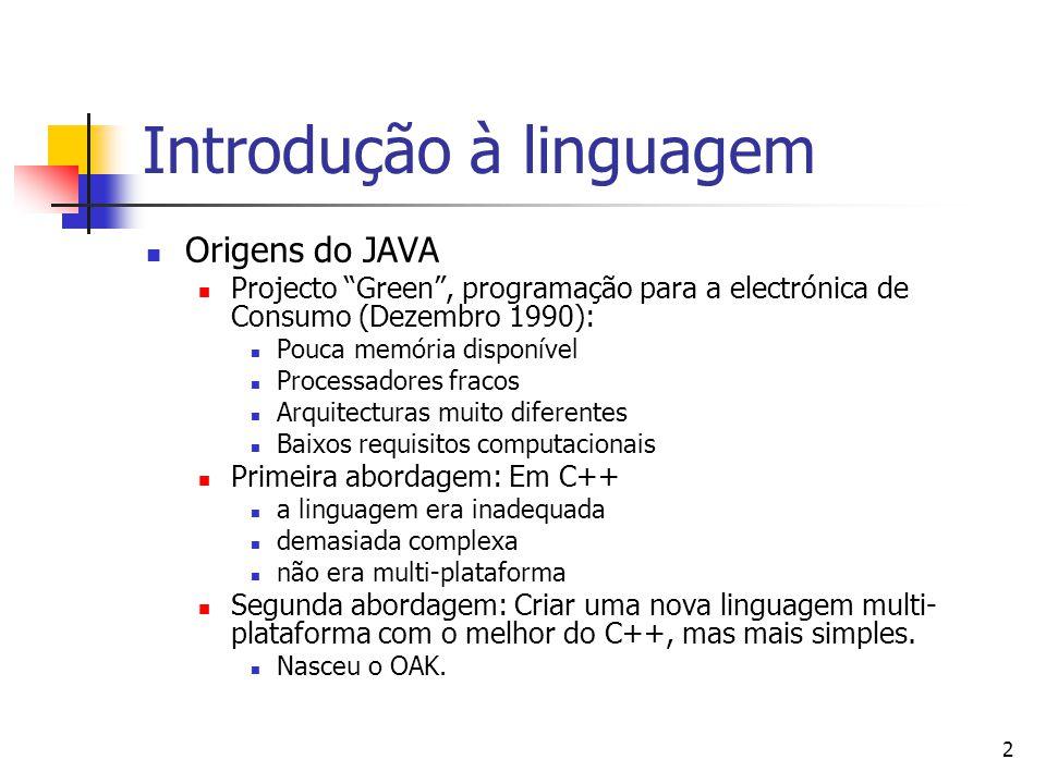 3 Introdução à Linguagem (cont.) O projecto foi um fracasso, a electrónica de consumo não precisava de algo tão sofisticado.