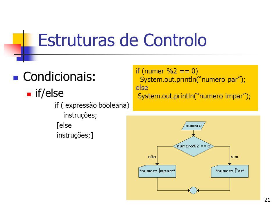 21 Estruturas de Controlo Condicionais: if/else if ( expressão booleana) instruções; [else instruções;] if (numer %2 == 0) System.out.println(numero par); else System.out.println(numero impar);