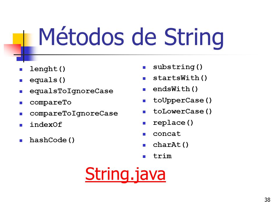 38 Métodos de String lenght() equals() equalsToIgnoreCase compareTo compareToIgnoreCase indexOf hashCode() substring() startsWith() endsWith() toUpperCase() toLowerCase() replace() concat charAt() trim String.java