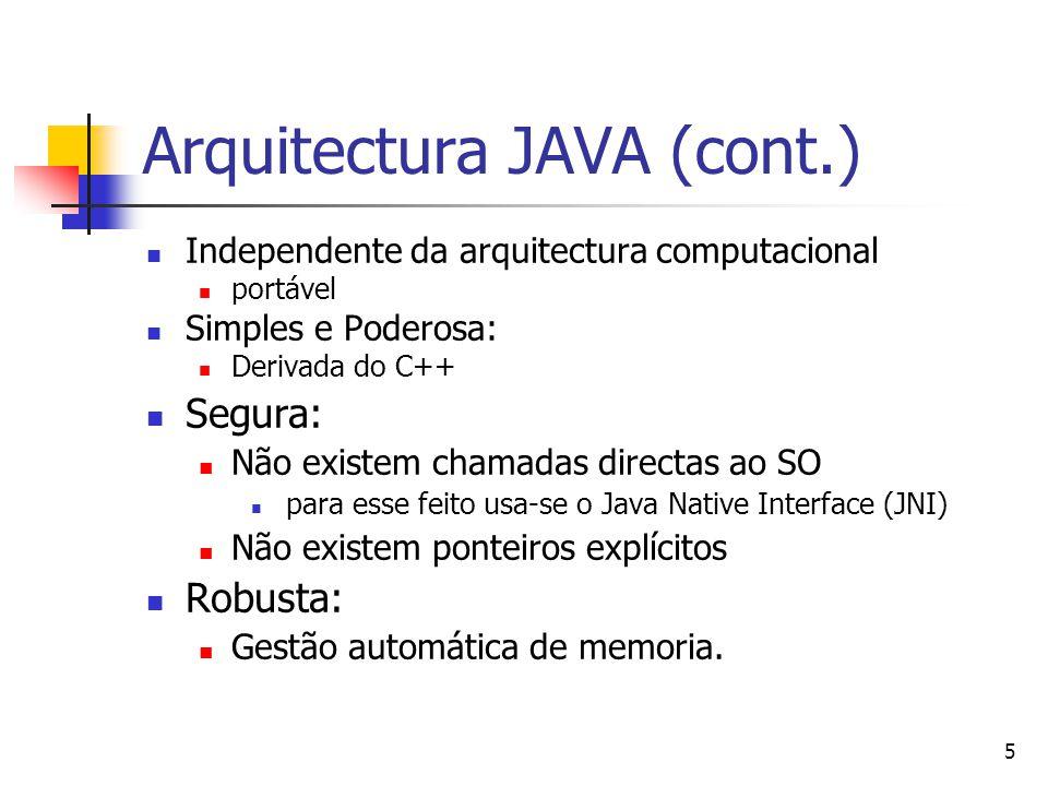 6 Arquitectura JAVA (cont.) Orientada a Objectos: Linguagem Orientada a Objectos pura (quase…).