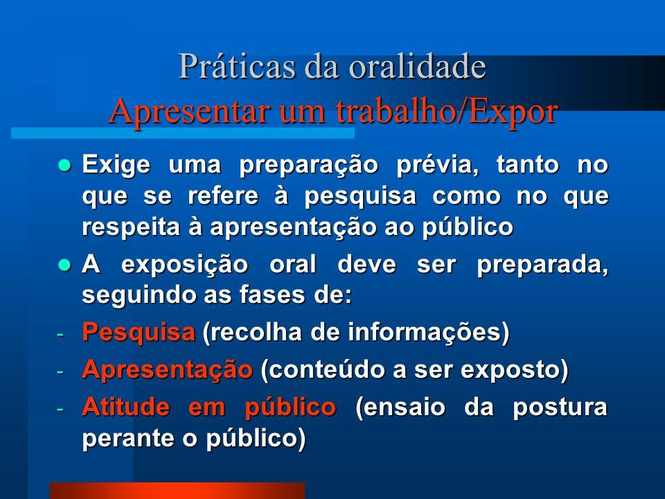Práticas da oralidade Apresentar um trabalho/Expor Exige uma preparação prévia, tanto no que se refere à pesquisa como no que respeita à apresentação