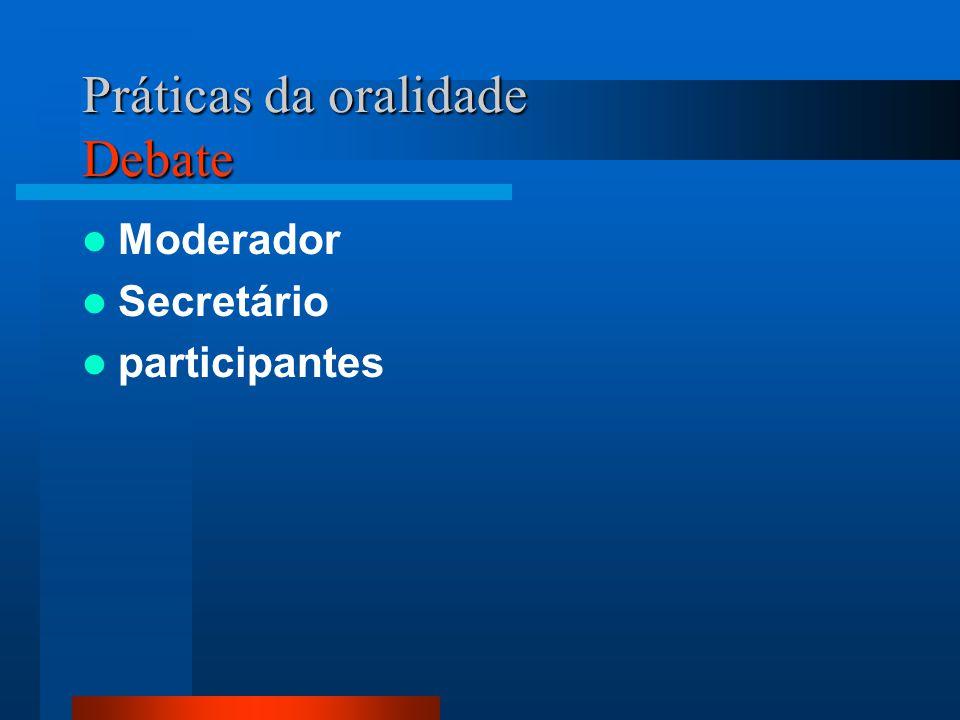 Práticas da oralidade Debate Moderador Secretário participantes