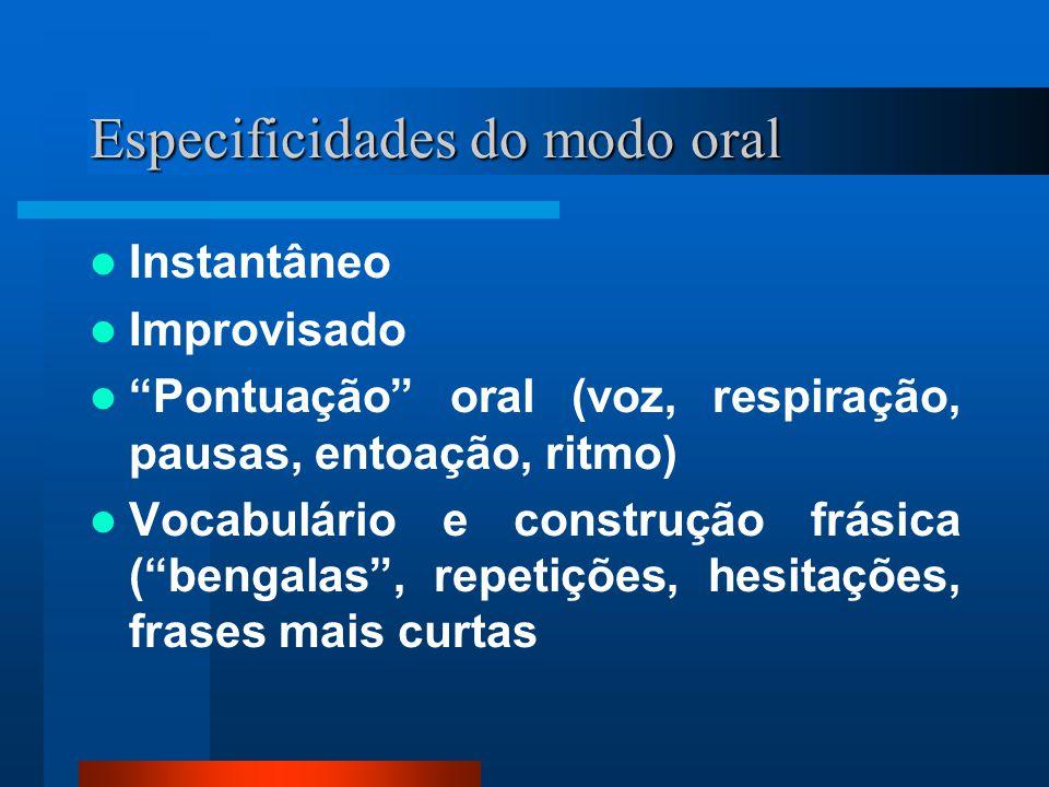 Especificidades do modo oral Instantâneo Improvisado Pontuação oral (voz, respiração, pausas, entoação, ritmo) Vocabulário e construção frásica (benga