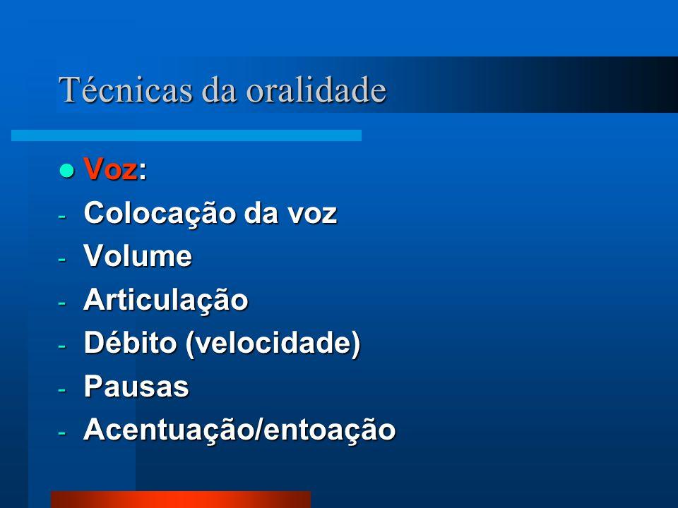 Técnicas da oralidade Voz: Voz: - Colocação da voz - Volume - Articulação - Débito (velocidade) - Pausas - Acentuação/entoação