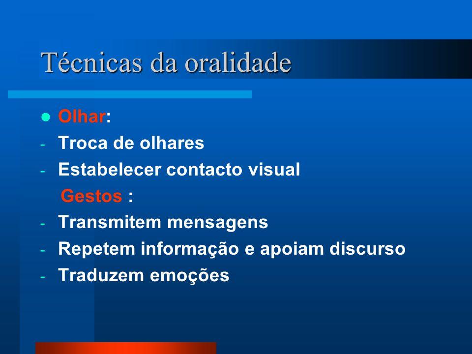 Técnicas da oralidade Olhar: - Troca de olhares - Estabelecer contacto visual Gestos : - Transmitem mensagens - Repetem informação e apoiam discurso -