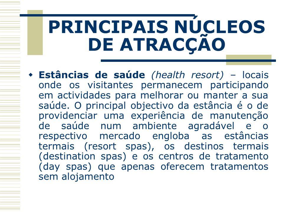 PRINCIPAIS NÚCLEOS DE ATRACÇÃO Estâncias de saúde (health resort) – locais onde os visitantes permanecem participando em actividades para melhorar ou manter a sua saúde.