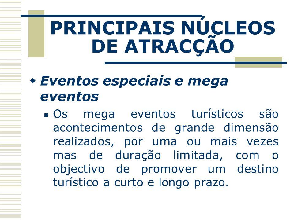 PRINCIPAIS NÚCLEOS DE ATRACÇÃO Eventos especiais e mega eventos Os mega eventos turísticos são acontecimentos de grande dimensão realizados, por uma o
