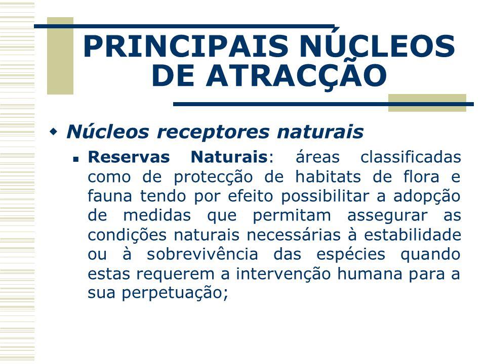 PRINCIPAIS NÚCLEOS DE ATRACÇÃO Núcleos receptores naturais Reservas Naturais: áreas classificadas como de protecção de habitats de flora e fauna tendo
