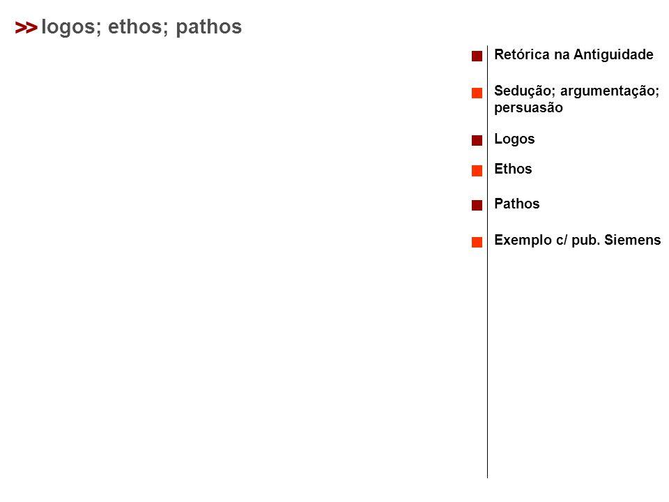 >> logos; ethos; pathos Retórica na Antiguidade Sedução; argumentação; persuasão Logos Ethos Pathos Exemplo c/ pub.