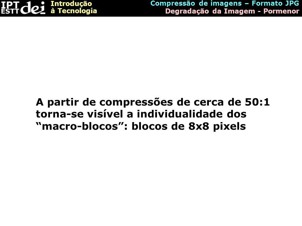 Introdução à Tecnologia Compressão de imagens – Formato JPG Degradação da Imagem - Pormenor A partir de compressões de cerca de 50:1 torna-se visível