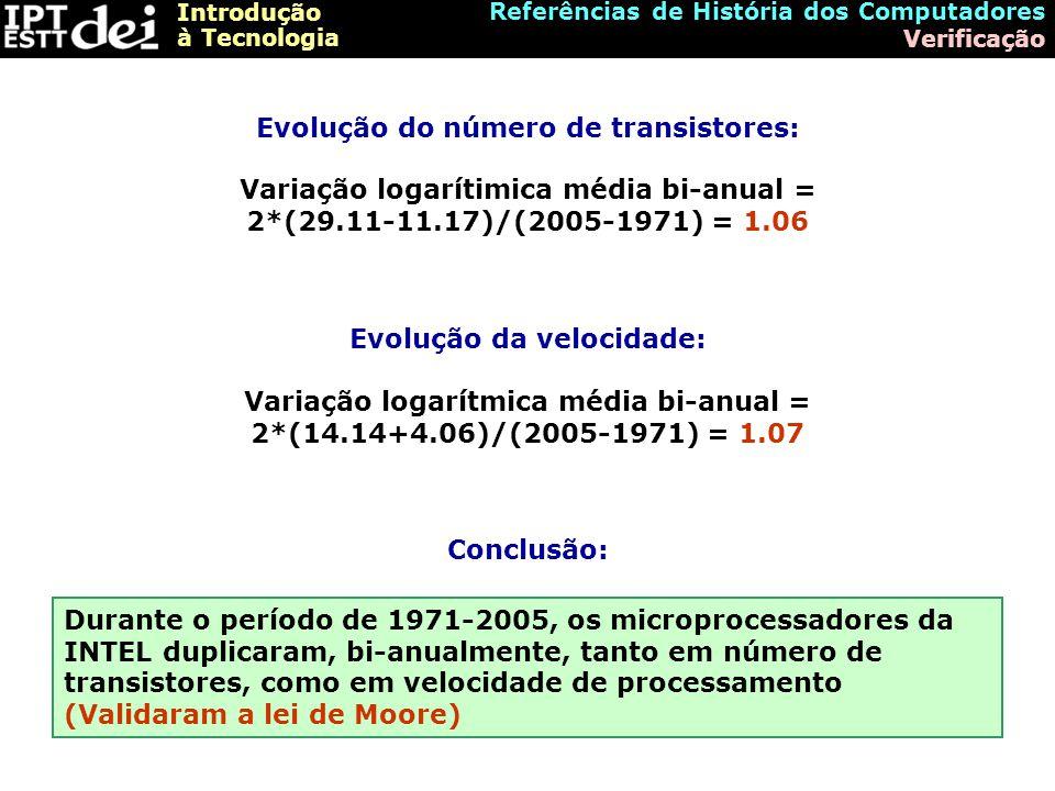 Introdução à Tecnologia Referências de História dos Computadores Verificação Evolução do número de transistores: Evolução da velocidade: Variação logarítimica média bi-anual = 2*(29.11-11.17)/(2005-1971) = 1.06 Variação logarítmica média bi-anual = 2*(14.14+4.06)/(2005-1971) = 1.07 Conclusão: Durante o período de 1971-2005, os microprocessadores da INTEL duplicaram, bi-anualmente, tanto em número de transistores, como em velocidade de processamento (Validaram a lei de Moore)