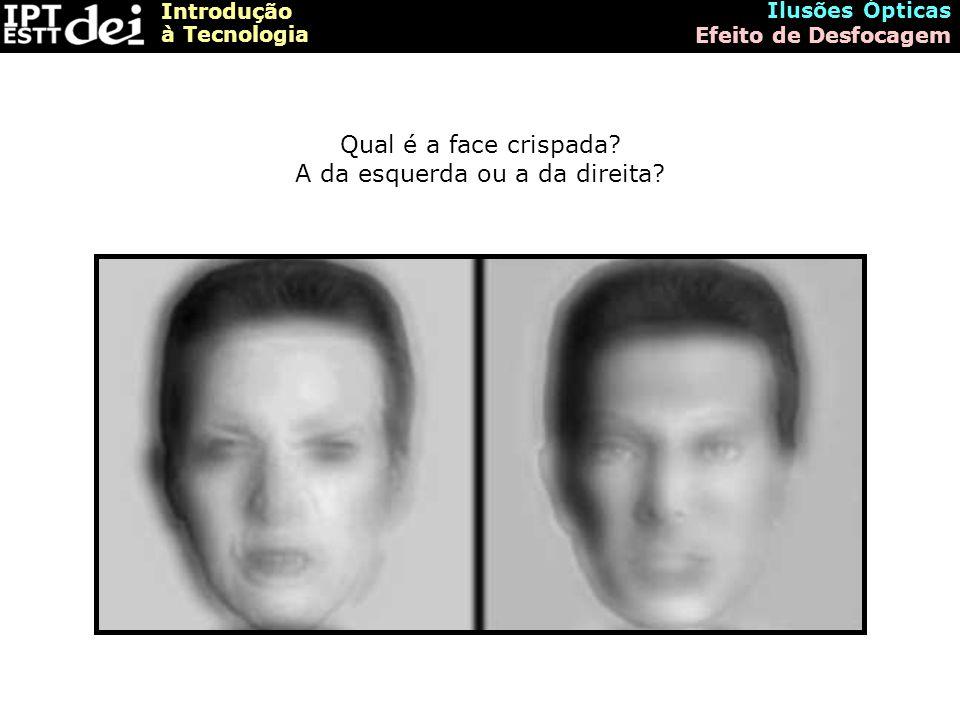 Introdução à Tecnologia Ilusões Ópticas Efeito de Desfocagem Qual é a face crispada.