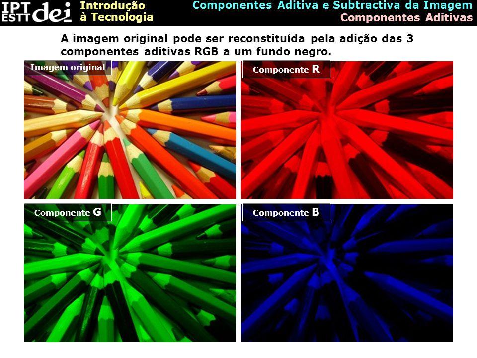 Introdução à Tecnologia Componentes Aditiva e Subtractiva da Imagem Formação da Imagem pelo modelo aditivo A imagem é formada pela adição das três componentes aditivas ao negro (ausência de potência luminosa)