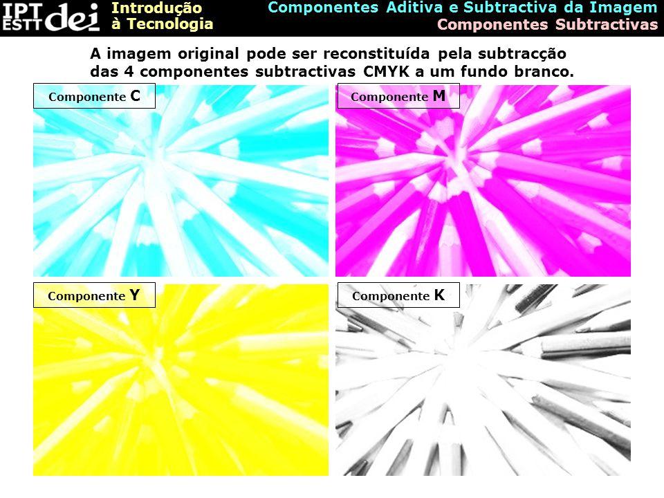 Introdução à Tecnologia Componentes Aditiva e Subtractiva da Imagem Formação da Imagem pelo Modelo Subtractivo A imagem é formada pela subtracção das três componentes subtractivas ao branco (potência luminosa máxima)