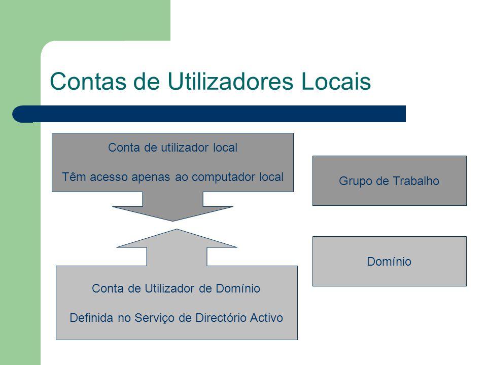 Contas de Utilizadores Locais Conta de utilizador local Têm acesso apenas ao computador local Conta de Utilizador de Domínio Definida no Serviço de Directório Activo Grupo de Trabalho Domínio