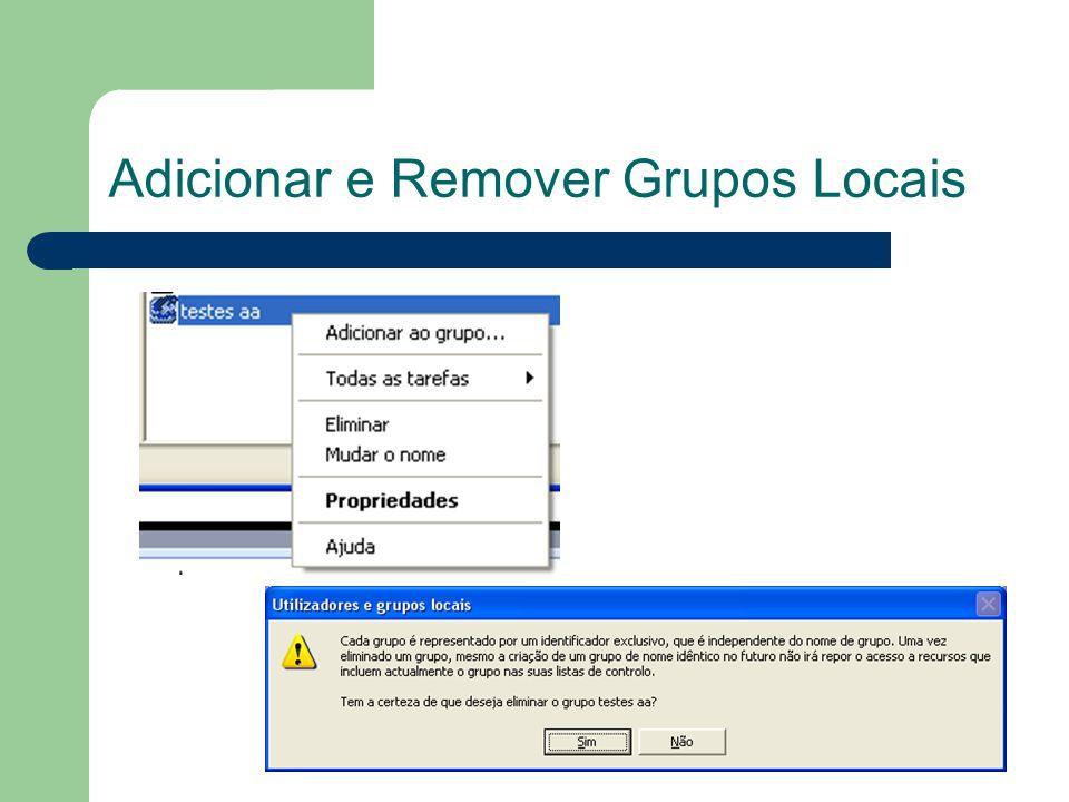 Adicionar e Remover Grupos Locais