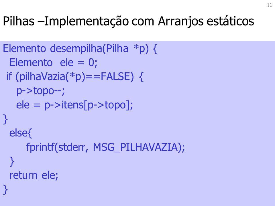 11 Pilhas –Implementação com Arranjos estáticos Elemento desempilha(Pilha *p) { Elemento ele = 0; if (pilhaVazia(*p)==FALSE) { p->topo--; ele = p->ite