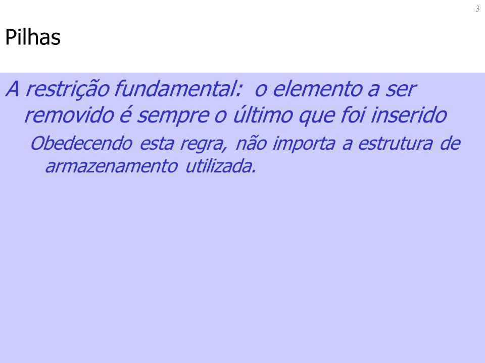 14 Exemplo: Pilha das Calculadoras HP: Inicializa Pilha (topo = -1) - Pilha Cheia – Pilha Vazia void inicializaPilha(Pilha *p) { p->topo=-1; } int pilhaCheia(Pilha p) { return MAIORIGUAL(p.topo,MAXPILHA-1); } int pilhaVazia(Pilha p) { return ((p.topo == -1) .