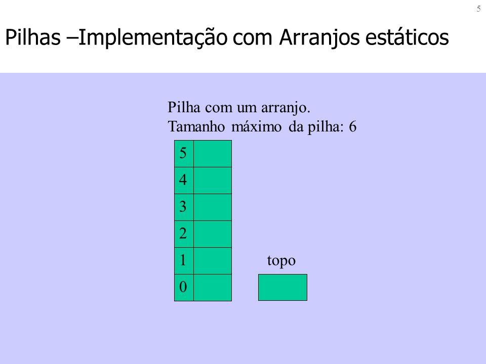 5 Pilhas –Implementação com Arranjos estáticos 0 1 2 3 4 5 topo Pilha com um arranjo. Tamanho máximo da pilha: 6