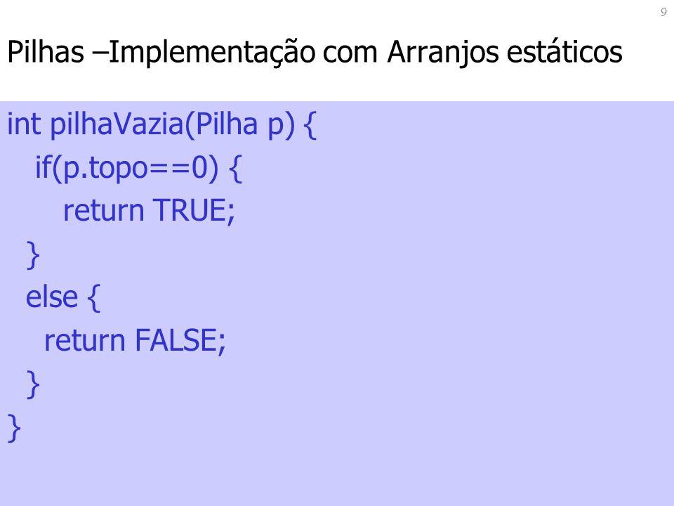 10 Pilhas –Implementação com Arranjos estáticos void empilha (Pilha *p, Elemento ele){ if (pilhaCheia(*p)==FALSE) { p->itens[p->topo] = ele; p->topo++; } else{ fprintf(stderr, Pilha Cheia); }