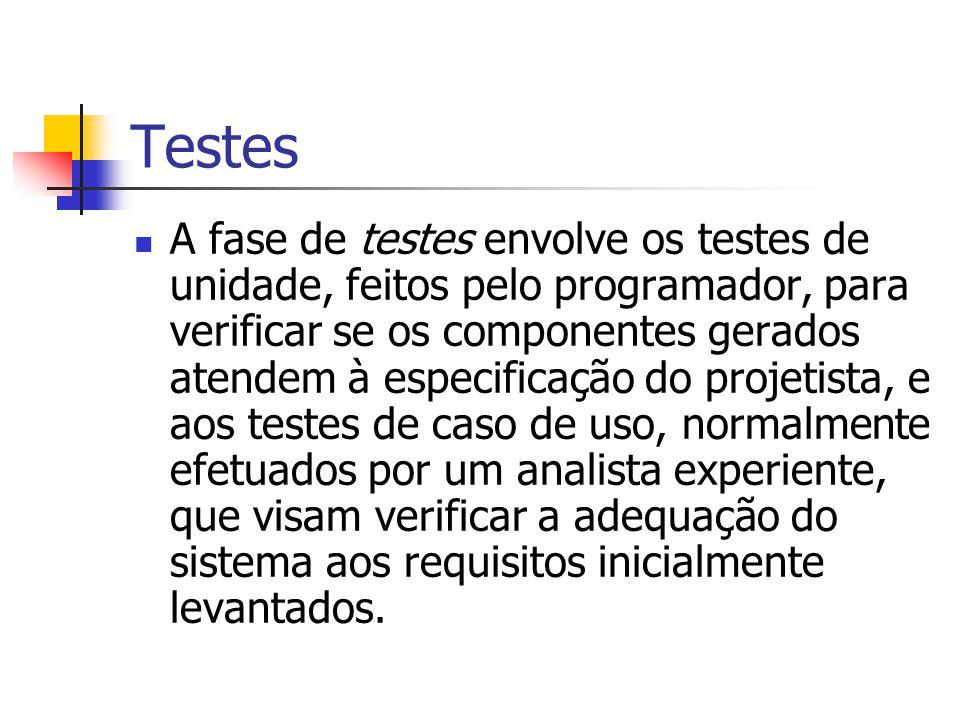 Testes A fase de testes envolve os testes de unidade, feitos pelo programador, para verificar se os componentes gerados atendem à especificação do pro