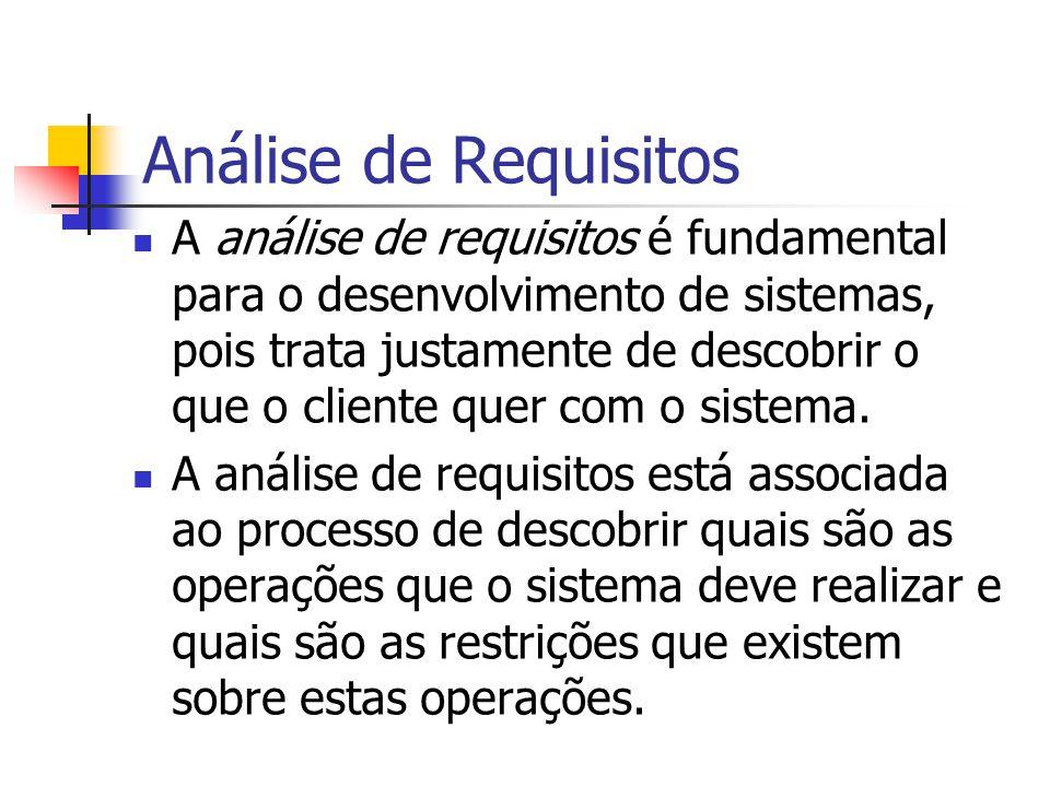 Análise de Requisitos A análise de requisitos é fundamental para o desenvolvimento de sistemas, pois trata justamente de descobrir o que o cliente que