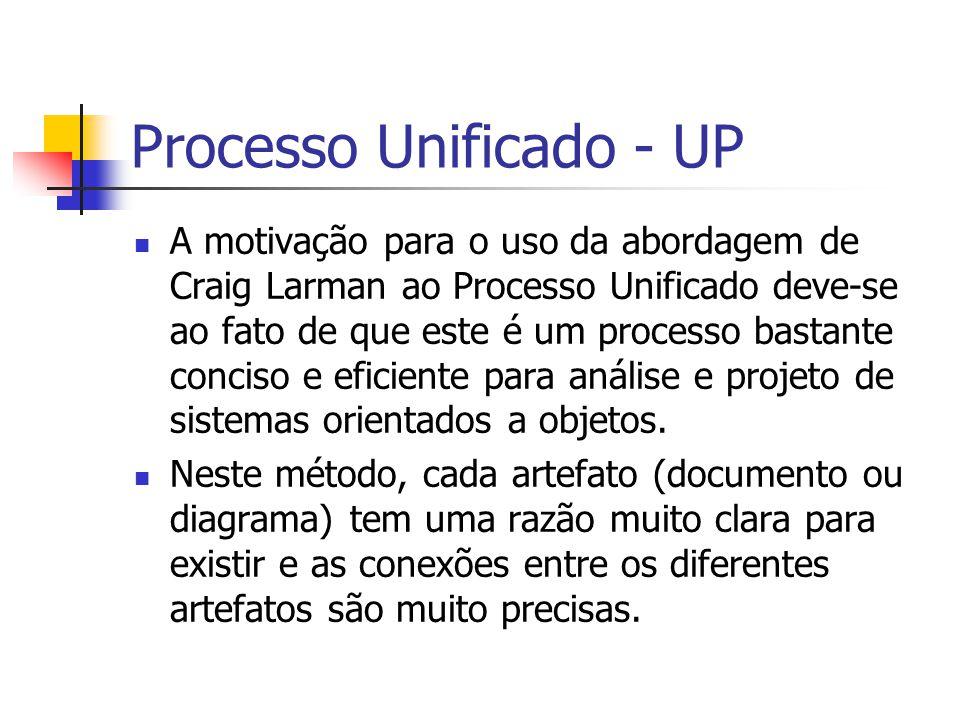 Processo Unificado - UP A motivação para o uso da abordagem de Craig Larman ao Processo Unificado deve-se ao fato de que este é um processo bastante c