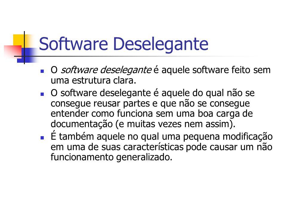 Software Deselegante O software deselegante é aquele software feito sem uma estrutura clara. O software deselegante é aquele do qual não se consegue r