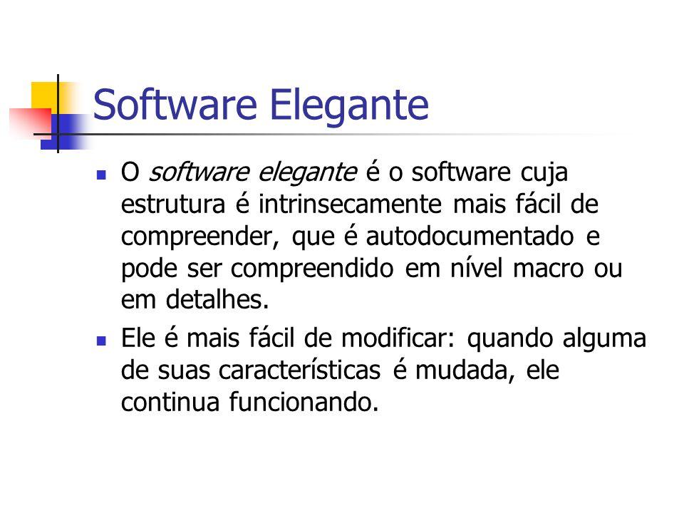 Software Elegante O software elegante é o software cuja estrutura é intrinsecamente mais fácil de compreender, que é autodocumentado e pode ser compre