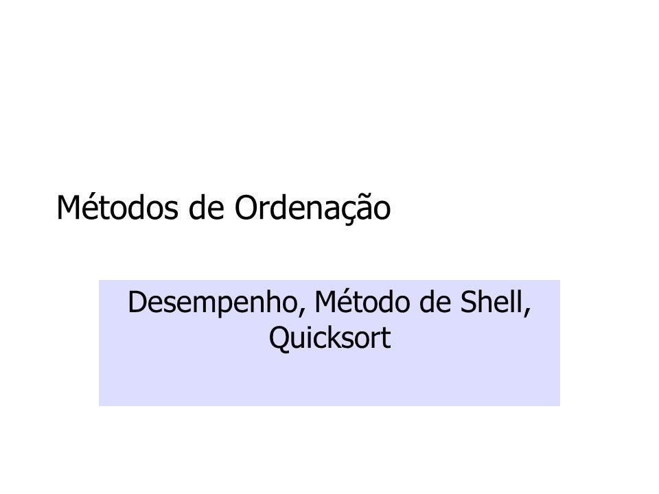 Métodos de Ordenação Desempenho, Método de Shell, Quicksort