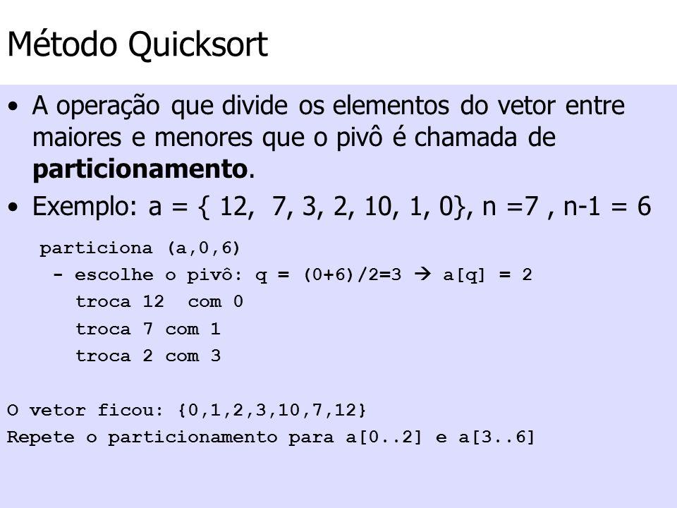 Método Quicksort A operação que divide os elementos do vetor entre maiores e menores que o pivô é chamada de particionamento. Exemplo: a = { 12, 7, 3,