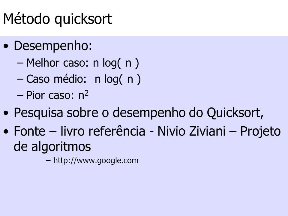 Método quicksort Desempenho: –Melhor caso: n log( n ) –Caso médio: n log( n ) –Pior caso: n 2 Pesquisa sobre o desempenho do Quicksort, Fonte – livro