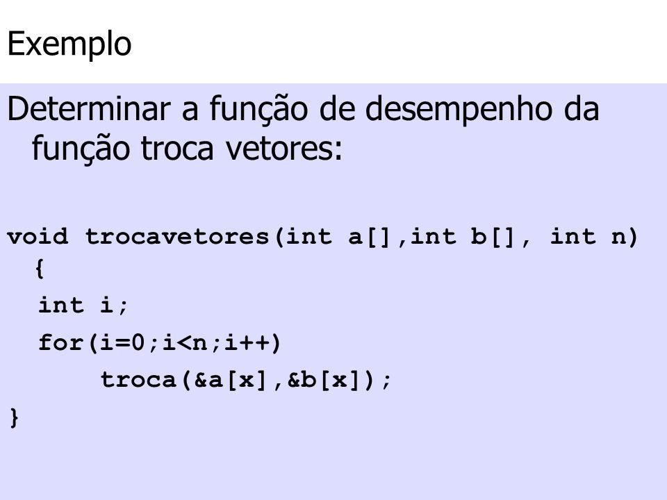 Exemplo Determinar a função de desempenho da função troca vetores: void trocavetores(int a[],int b[], int n) { int i; for(i=0;i<n;i++) troca(&a[x],&b[