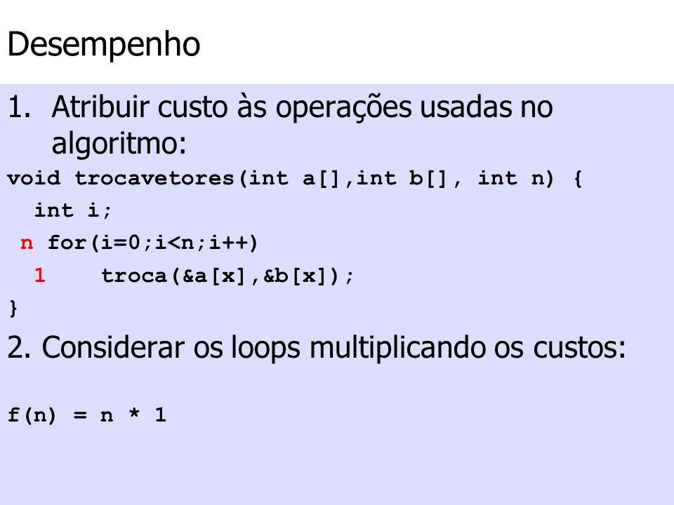 Desempenho 1.Atribuir custo às operações usadas no algoritmo: void trocavetores(int a[],int b[], int n) { int i; n for(i=0;i<n;i++) 1 troca(&a[x],&b[x