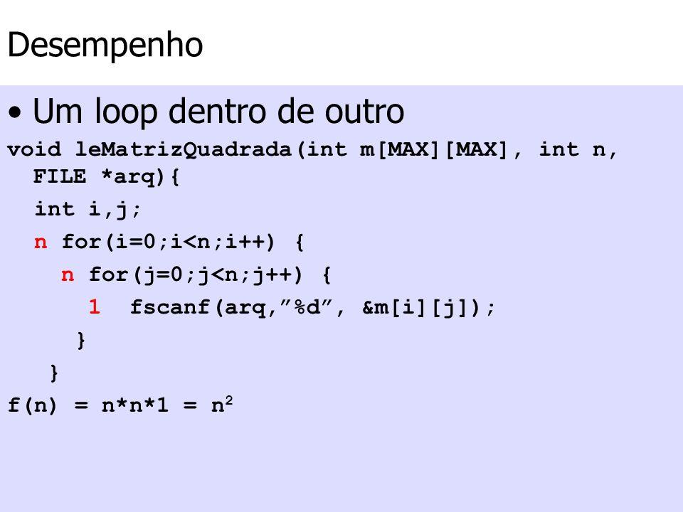 Desempenho Um loop dentro de outro void leMatrizQuadrada(int m[MAX][MAX], int n, FILE *arq){ int i,j; n for(i=0;i<n;i++) { n for(j=0;j<n;j++) { 1 fsca