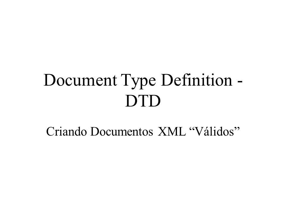 Introdução Um documento XML é válido somente se este: – possui um DTD associado a ele – está de acordo com com as restrições impostas no DTD