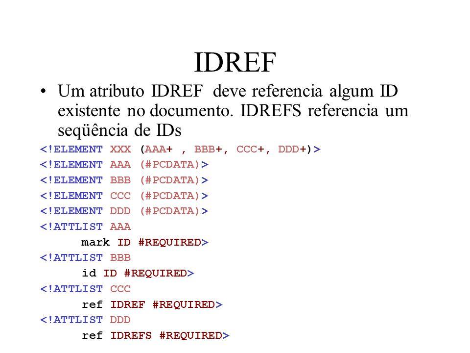 IDREF Um atributo IDREF deve referencia algum ID existente no documento. IDREFS referencia um seqüência de IDs <!ATTLIST AAA mark ID #REQUIRED> <!ATTL