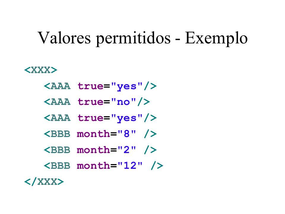 Valores permitidos - Exemplo