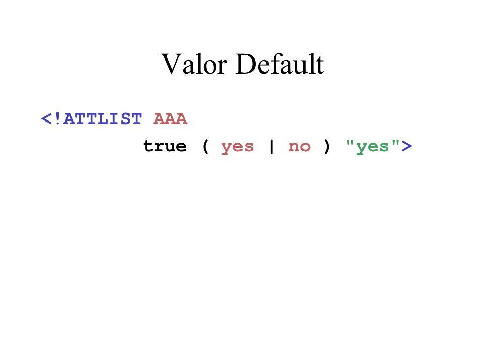 Valor Default <!ATTLIST AAA true ( yes | no )