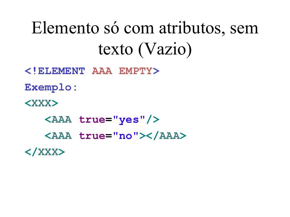 Elemento só com atributos, sem texto (Vazio) Exemplo: