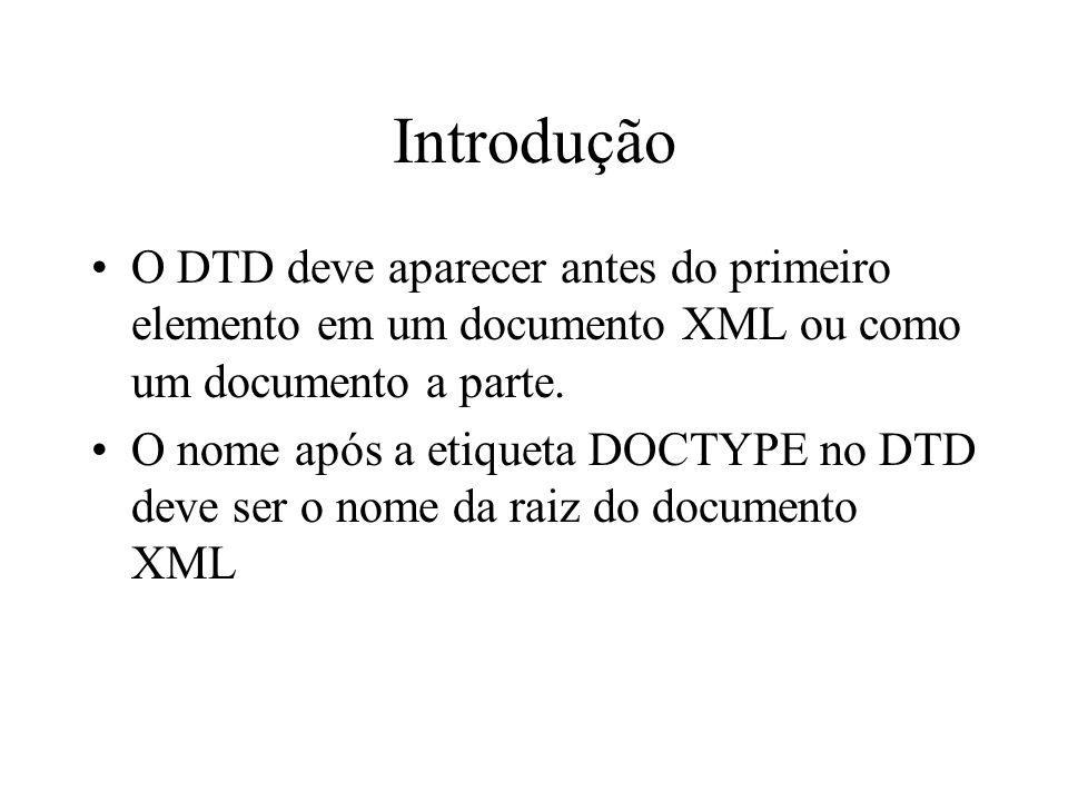 Introdução O DTD deve aparecer antes do primeiro elemento em um documento XML ou como um documento a parte. O nome após a etiqueta DOCTYPE no DTD deve