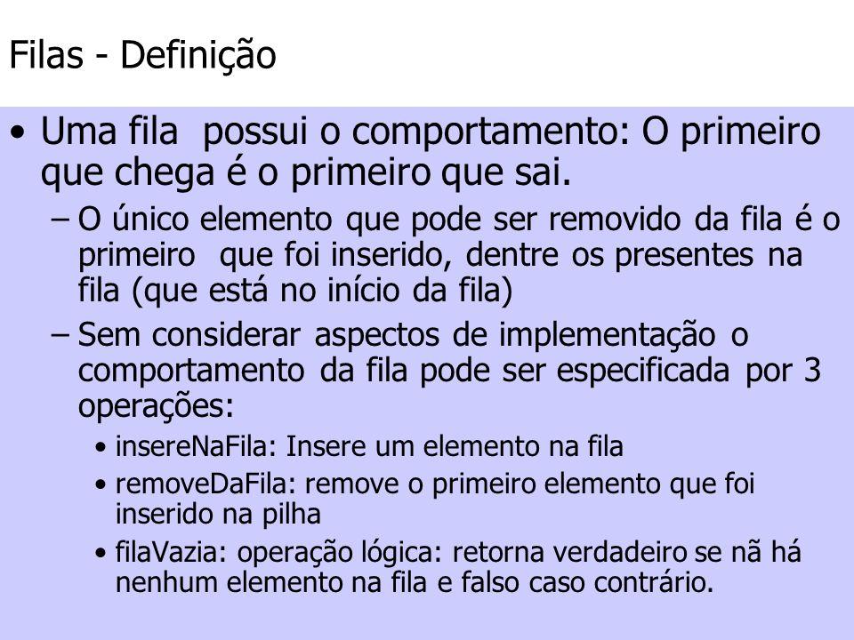 Filas – Fila Vazia A operação filaVazia é necessária porque a operação removeDaFila só pode ser executada se a pilha não estiver vazia.
