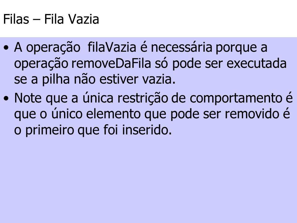Filas – Fila Vazia A operação filaVazia é necessária porque a operação removeDaFila só pode ser executada se a pilha não estiver vazia. Note que a úni