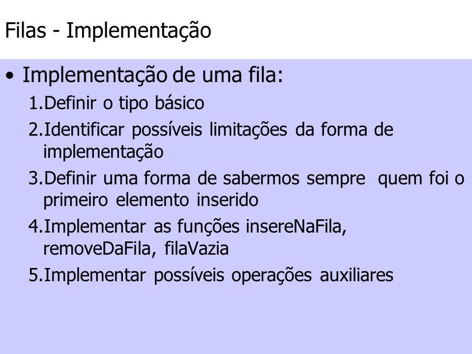 Filas - Implementação Implementação de uma fila: 1.Definir o tipo básico 2.Identificar possíveis limitações da forma de implementação 3.Definir uma fo