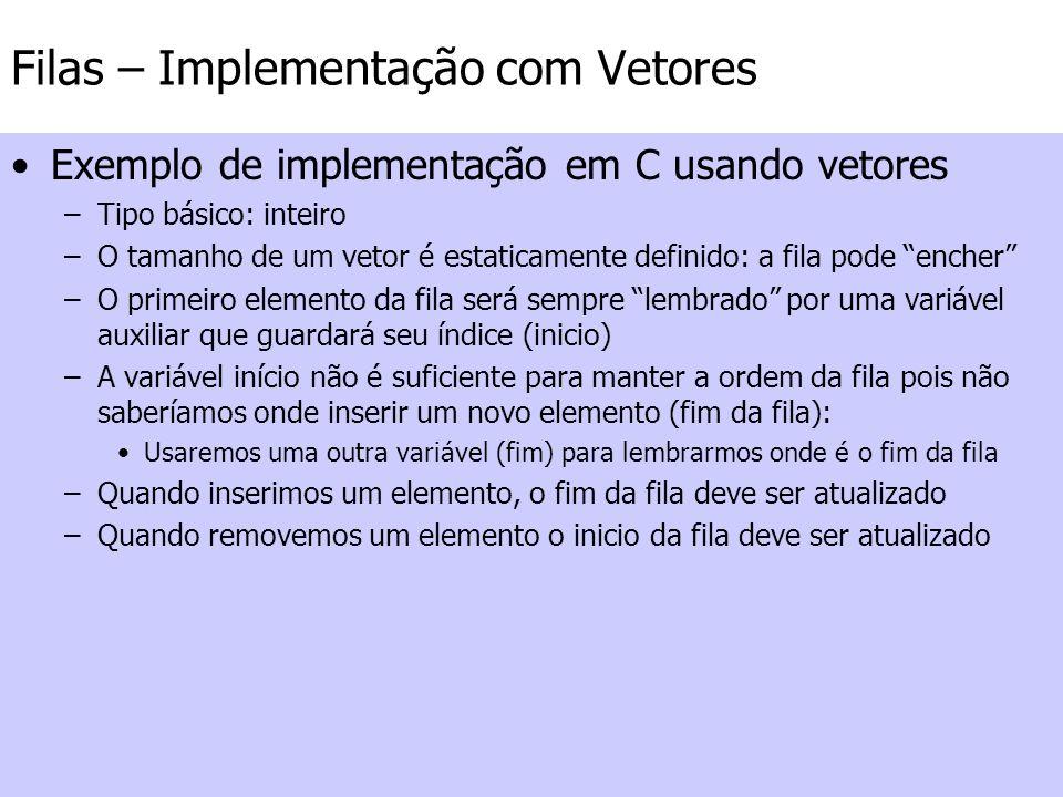 Filas – Implementação com Vetores Exemplo de implementação em C usando vetores –Tipo básico: inteiro –O tamanho de um vetor é estaticamente definido:
