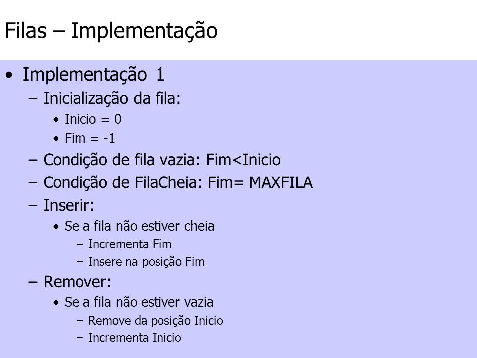 Filas – Implementação Implementação 1 –Inicialização da fila: Inicio = 0 Fim = -1 –Condição de fila vazia: Fim<Inicio –Condição de FilaCheia: Fim= MAX