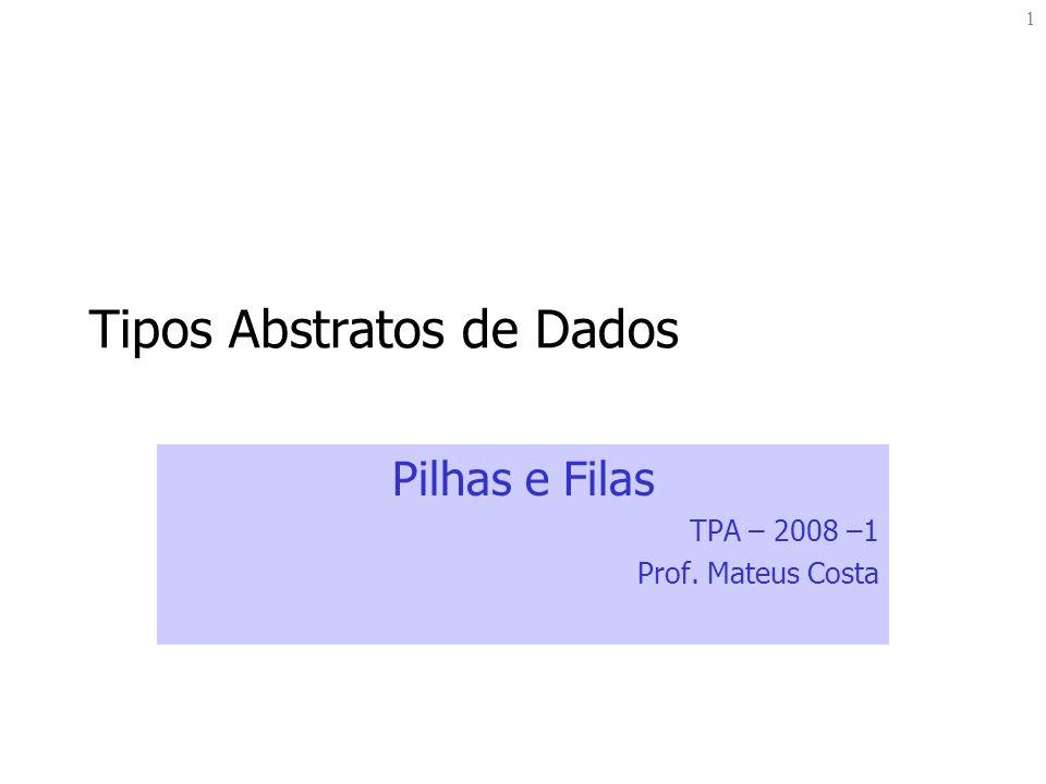 12 Exemplo: Pilha das Calculadoras HP main – implementa o algoritmo da calculadora HP parte 2 - faz operações else { //se não eh digito if (isoperator(x)){ // se eh operador if (pilhaVazia(p1) == false) { a = desempilha(&p1); if (pilhaVazia(p1) == false) { b = desempilha(&p1); result = fazOperacao(a,b,x); empilha(&p1, result); } mostraTopo(p1); } while(x != q ); }