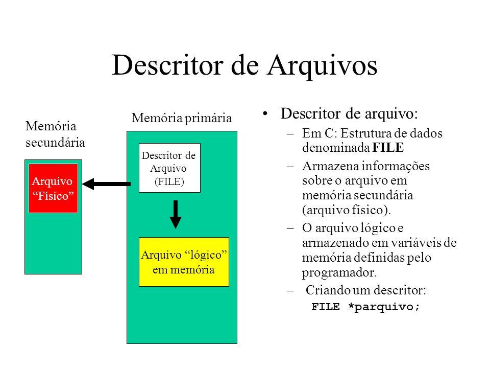 Descritor de Arquivos Descritor de arquivo: –Em C: Estrutura de dados denominada FILE –Armazena informações sobre o arquivo em memória secundária (arquivo físico).