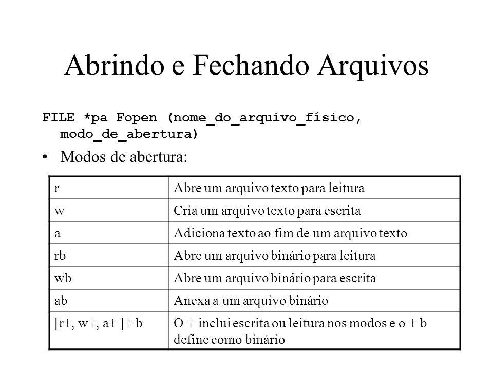 Abrindo e Fechando Arquivos FILE *pa Fopen (nome_do_arquivo_físico, modo_de_abertura) Modos de abertura: rAbre um arquivo texto para leitura wCria um arquivo texto para escrita aAdiciona texto ao fim de um arquivo texto rbAbre um arquivo binário para leitura wbAbre um arquivo binário para escrita abAnexa a um arquivo binário [r+, w+, a+ ]+ bO + inclui escrita ou leitura nos modos e o + b define como binário