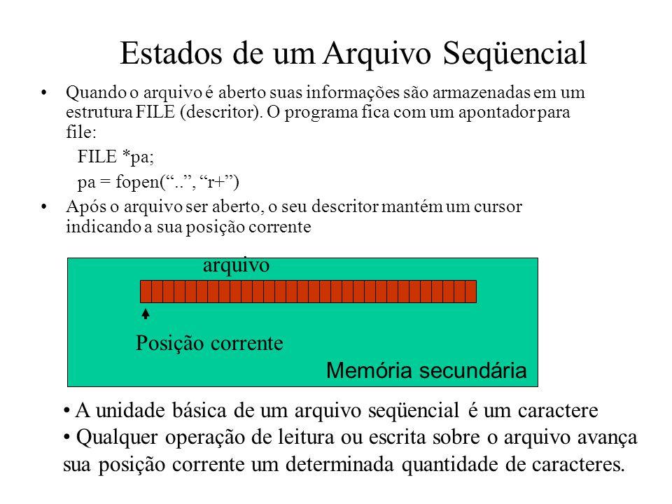 Manipulando Arquivos Se lemos um caractere (função fgetc), a posição corrente avança 1 caractere Mas se lemos um inteiro (fscanf(pa, %d,..), a posição corrente avança o número de caracteres correspondente ao primeiro inteiro antes de um espaço, fim de linha ou fim de arquivo: Ex: se o arquivo tiver os os dados: 08 01 1970 e a posição corrente apontar para o primeiro caractere (primeiro zero), ao lermos um inteiro a posição corrente irá avançar 2 caracteres, parando no primeiro espaço e o numero lido será 8.